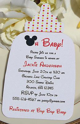 Mickey Mouse Baby Shower Invitation Shape Of Bottle Wording Customized