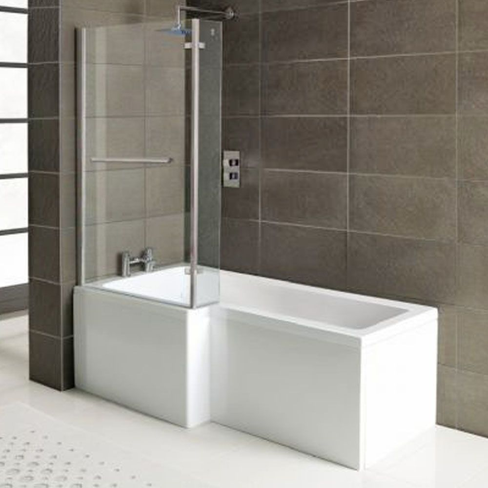 Raumspar Badewanne SYNA mit Duschzone 167 5x85 70 cm links weiß Komplett Set