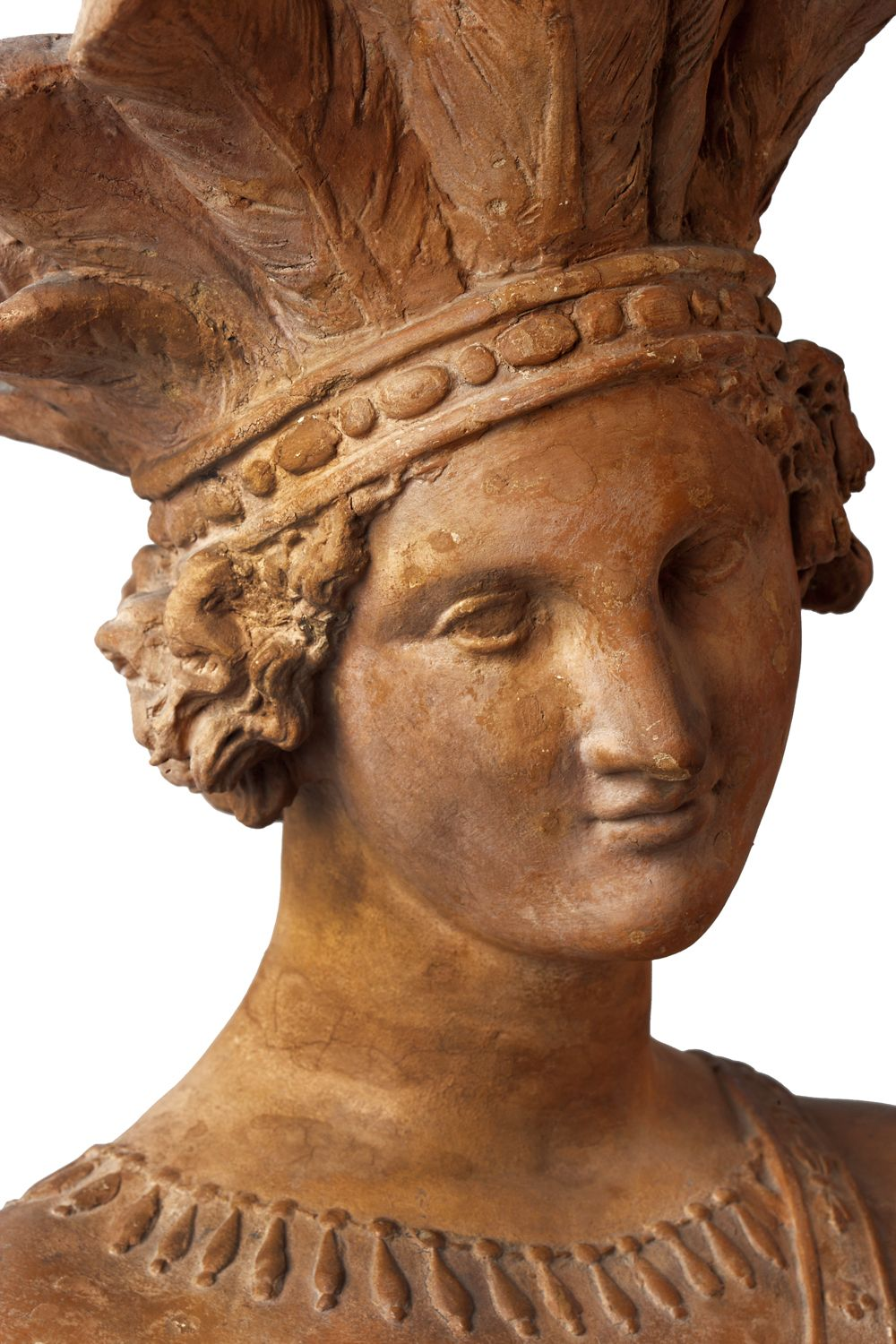 Amérique, ca. 1840. Terracotta. Bequest of James Hazen Hyde, New-York Historical Society, 1960.40[dup]. Detail. #neverthelessshepersisted