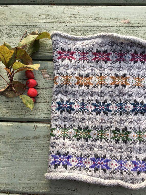 Kyle Fair Isle Knitted Wool Cowl Scarf #shetlandislands