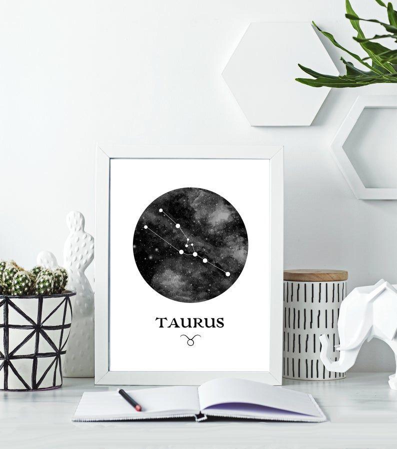 Taurus Wall Art Star Sign Print Horoscope Art Zodiac Sign Etsy Constellation Wall Art Horoscope Art Celestial Art
