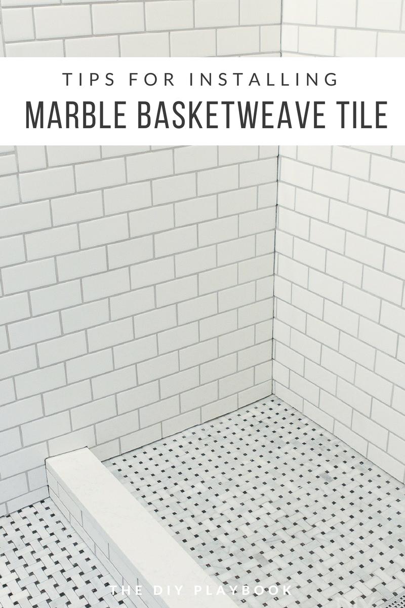 Tips And Tricks To Lay Marble Basketweave Floor Tile The Diy Playbook Basketweave Tile Bathroom Marble Tile Floor Basket Weave Tile