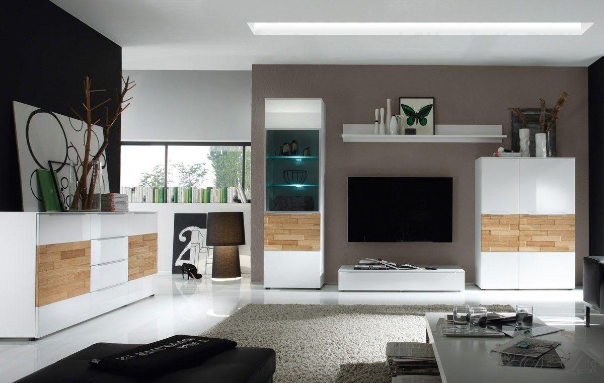 Wohnzimmermöbel modern weiß  Wohnzimmer Elion Weiss Eiche Wohnwand 310cm Kommode