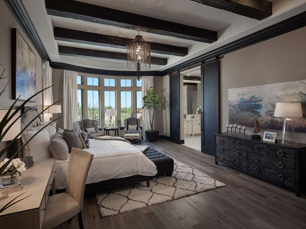 Mediterranean Master Bedroom With High Ceiling Abstract Painting Promise Of Luxury Master Bedroom Design Luxury Bedroom Master Luxurious Bedrooms