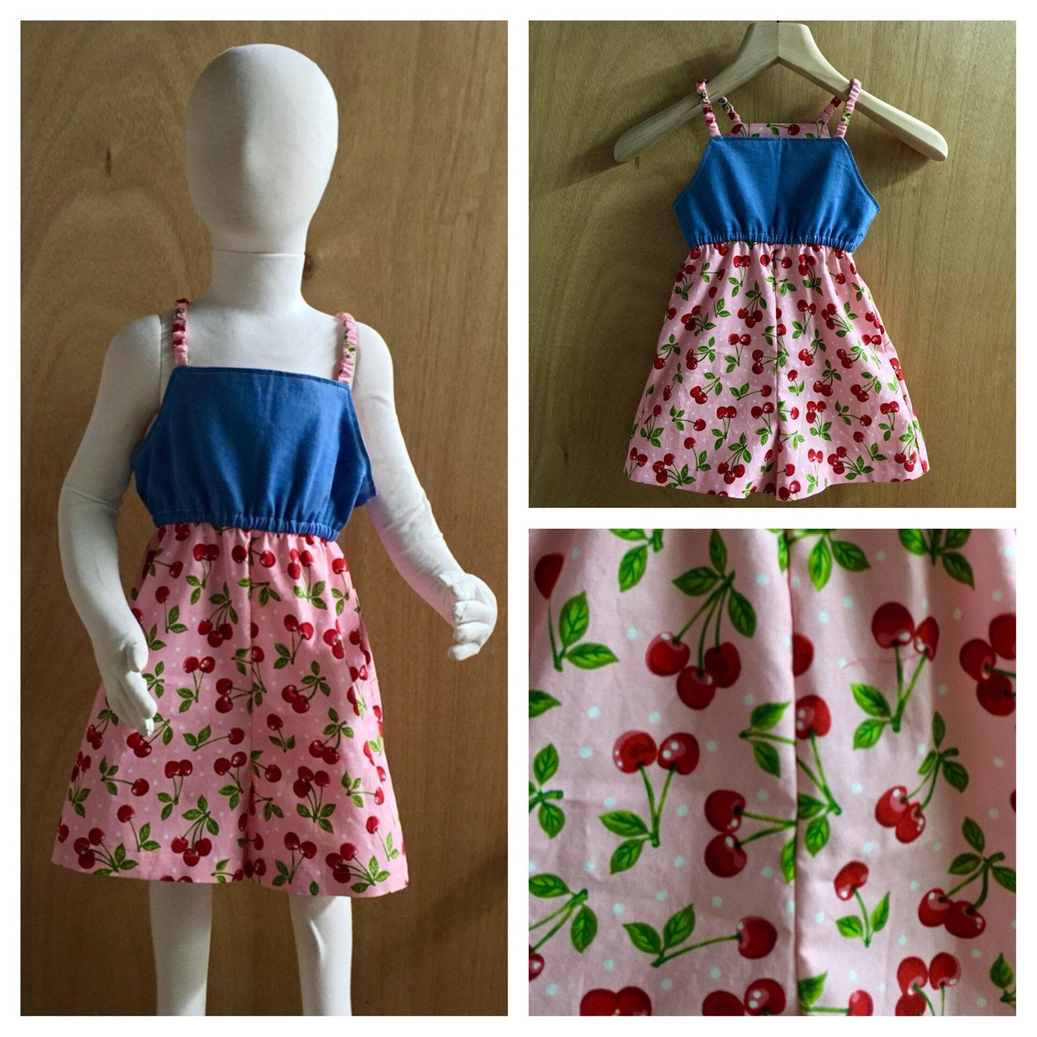 Cheery Cherries!  This denim and cotton romper is simple and fun! Size 5