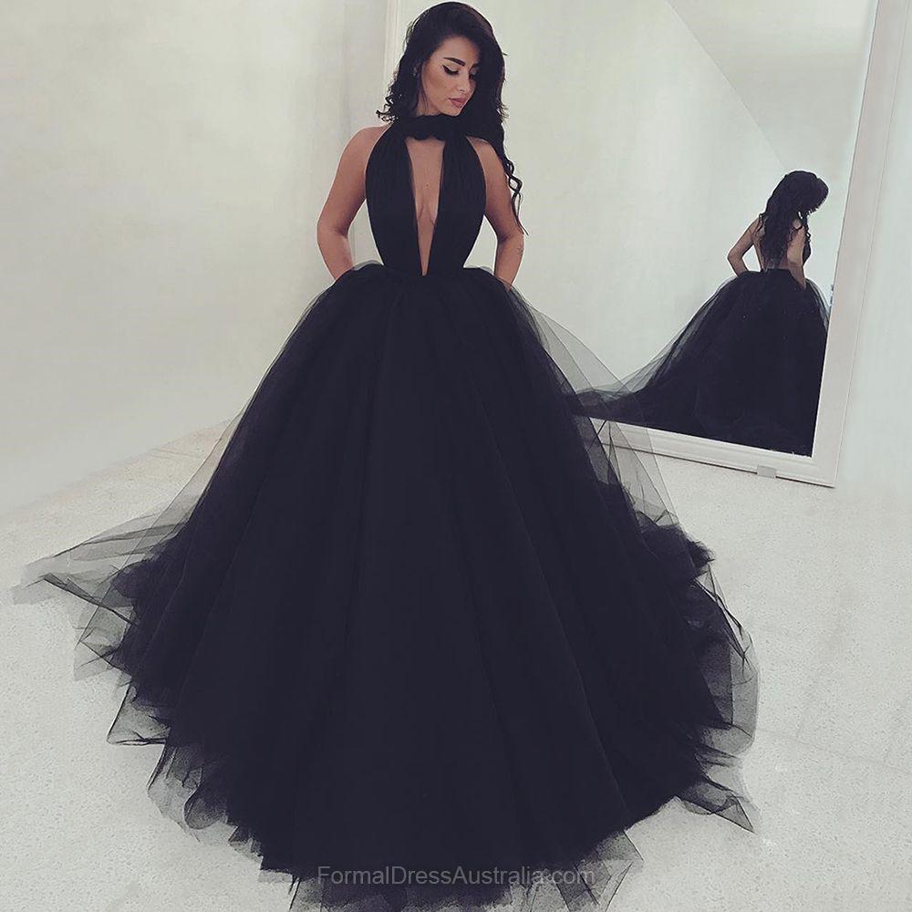 Long formal dresses black high neck formal dress tulle cheap party