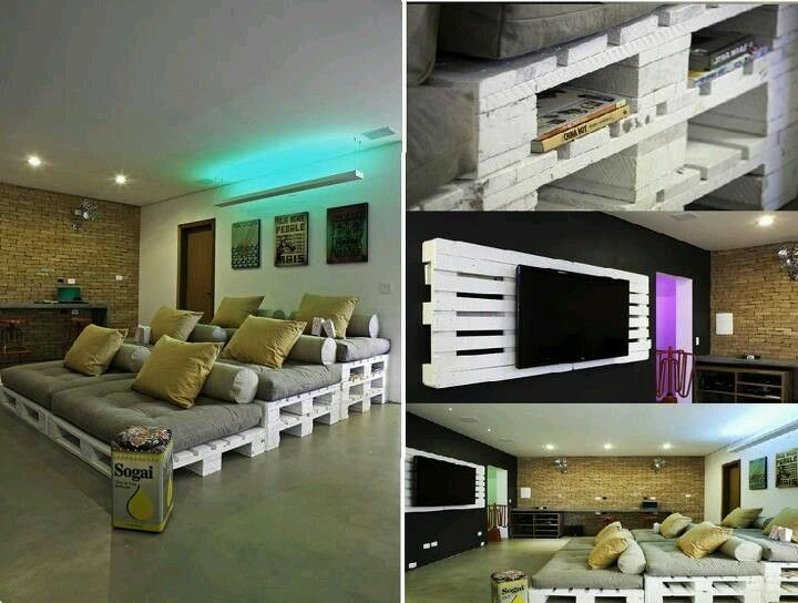 DIY home theater sofa I really like the sofa idea where one levels higher then the one before it..really cool!