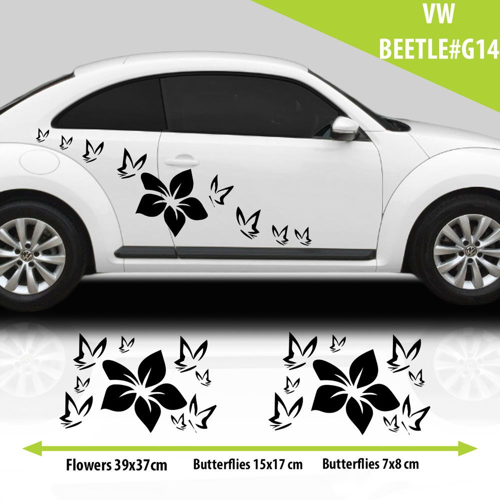 Vw Beetle Flowers With Butterflies Graphics Stickers Decals Tuning