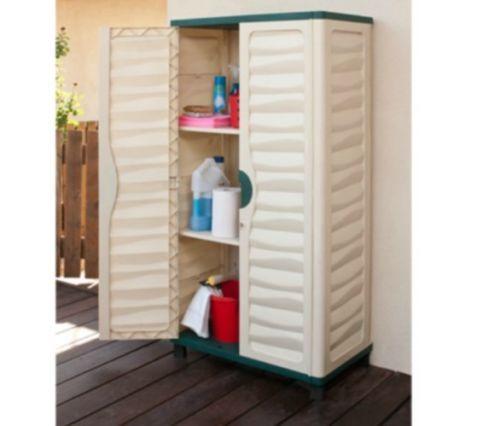 Outdoor Storage Cabinet Plastic Horizontal Shed Garage Garden