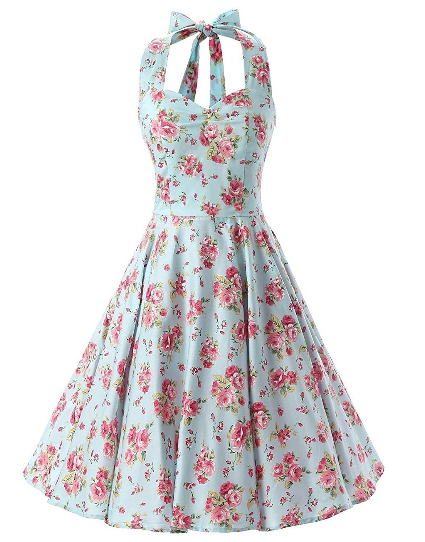 Womens Vintage 1950s Halter Floral Spring Garden Party Picnic Dress Mint Blue Cu127aeqwc9 Rockabilly Swing Dress Cocktail Dress Vintage Vintage Dresses [ 1500 x 1173 Pixel ]