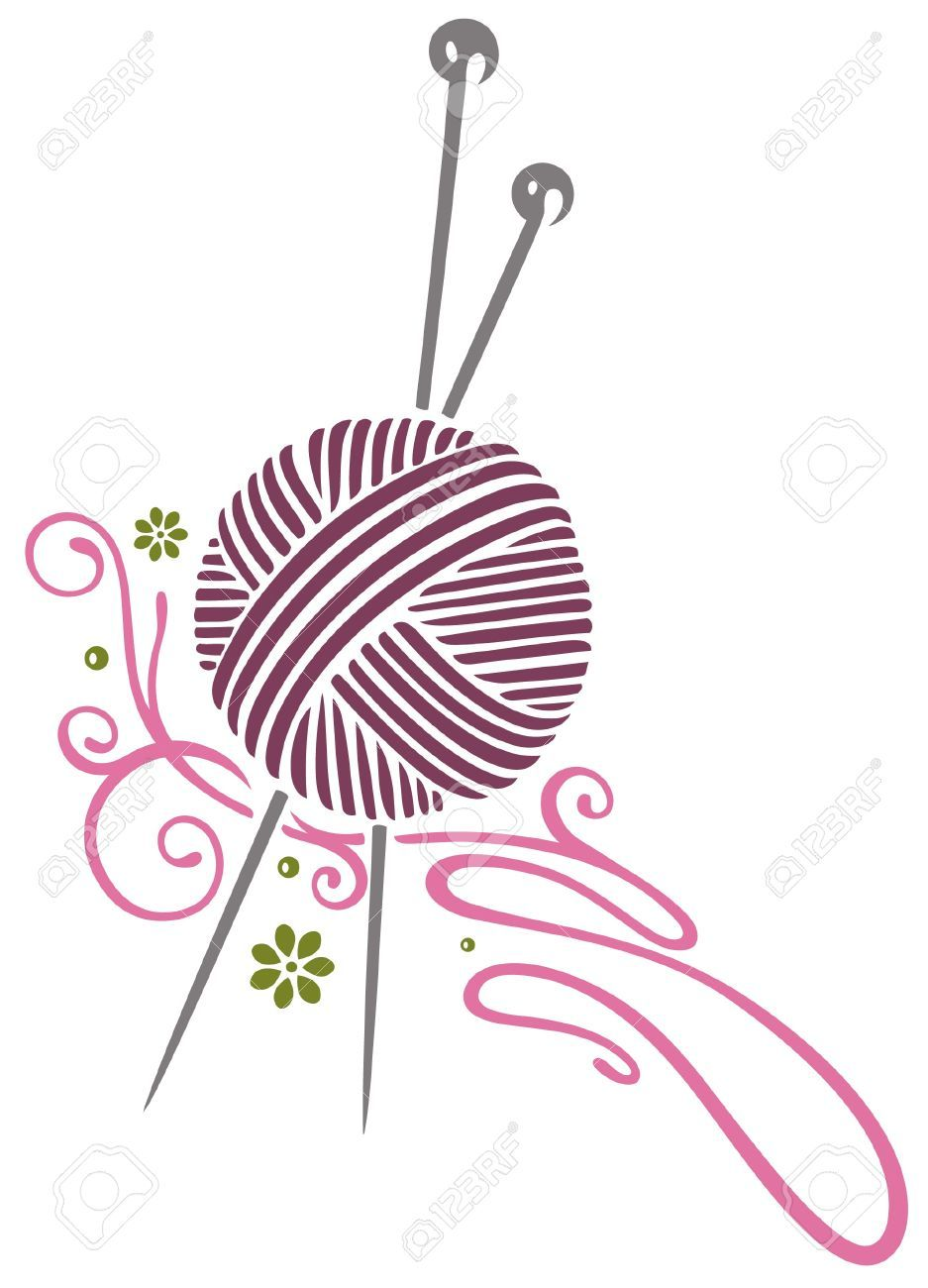 Knitting Crocheting Clipart : Purple wool with knitting needles stock vector