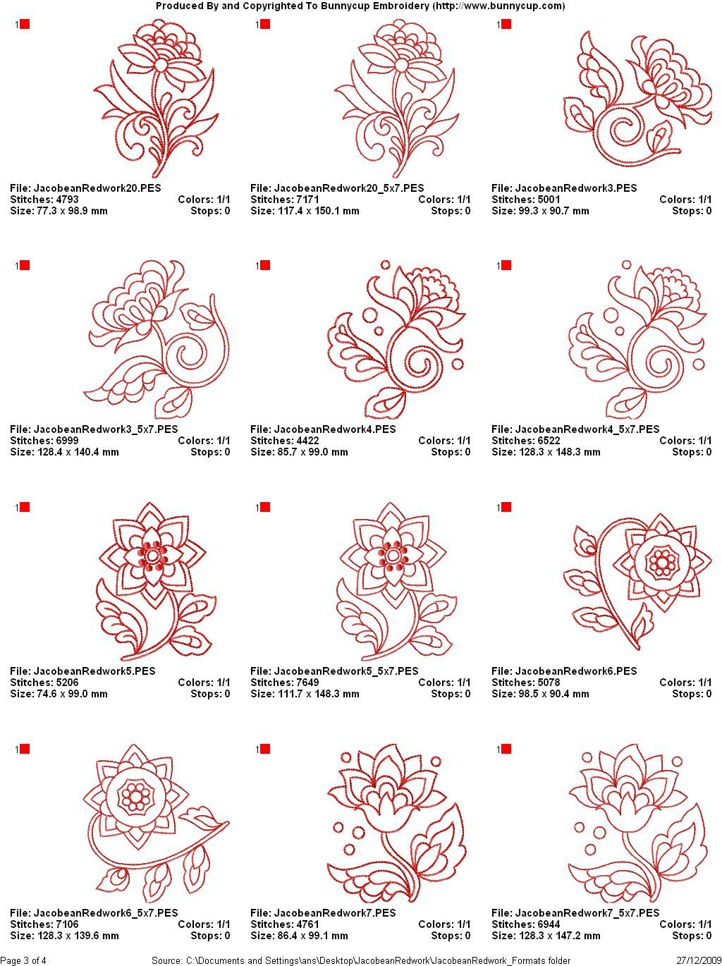 Jacobean embroidery charts (machine)\