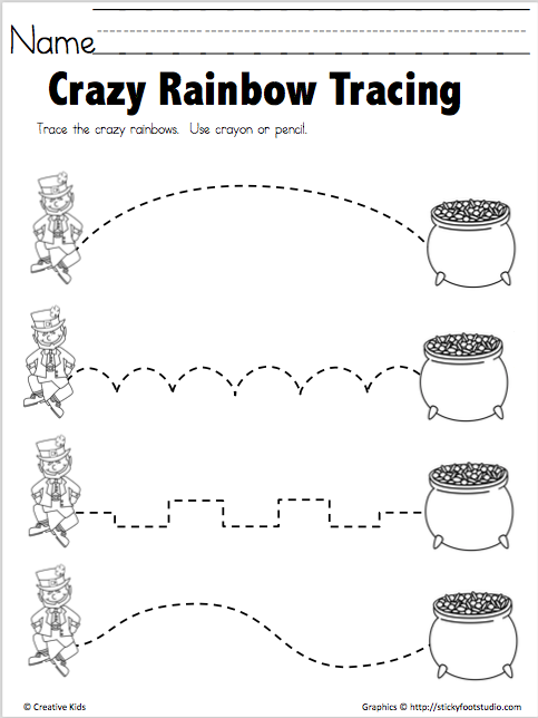 Free Crazy Rainbow Tracing Worksheet Madebyteachers St Patrick Day Activities St Patricks Day Crafts For Kids Preschool Prewriting