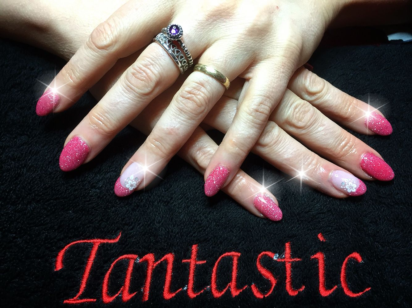 Nexgen nails. Pink with glitter and flower nail art   Nail design ...