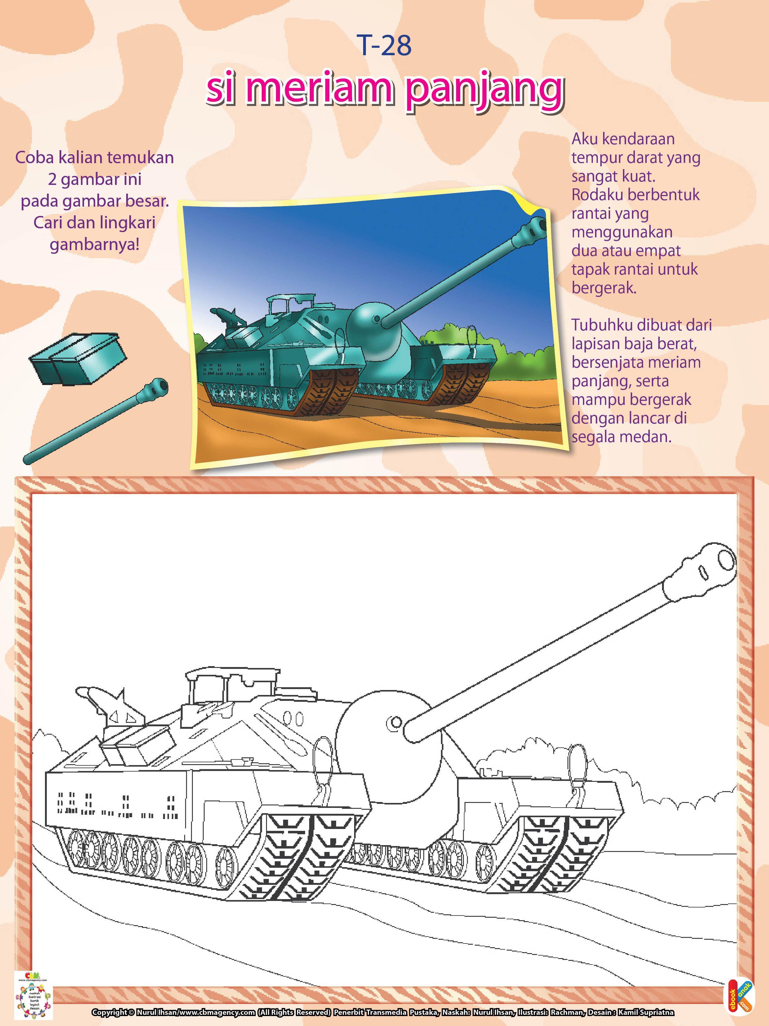 Mewarnai Kendaraan Perang Tank T28 Ebook Anak Dengan Gambar