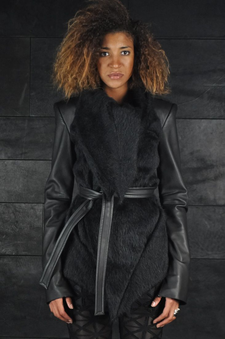 Gareth Pugh – Leather Sleeve Belted Jacket