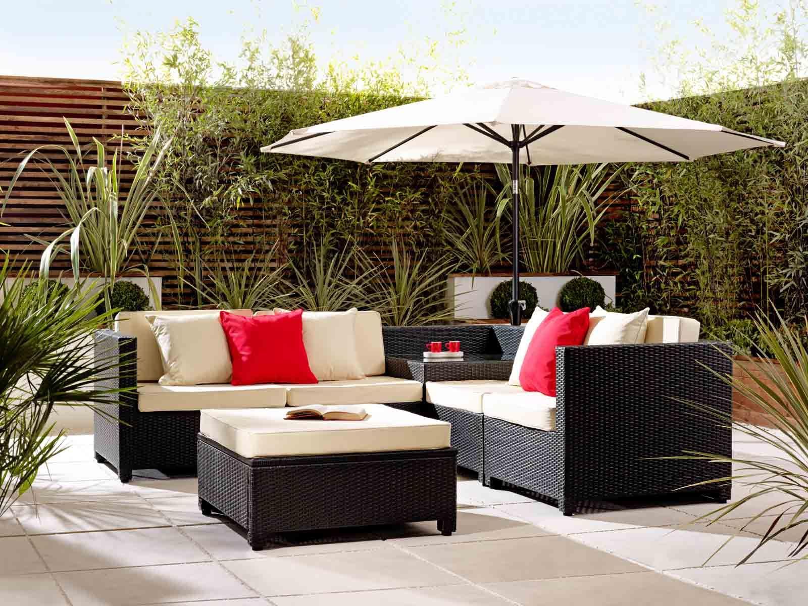 Rattan Outdoor Sofa Set with Corner Table Garden Furniture in Black ...