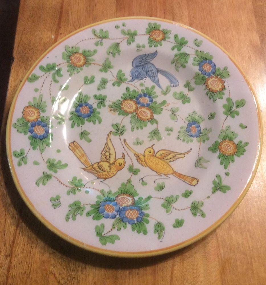4 Italian Ceramic Art Pottery Wall Birds Plates Made In Italy & 4 Italian Ceramic Art Pottery Wall Birds Plates Made In Italy | F ...