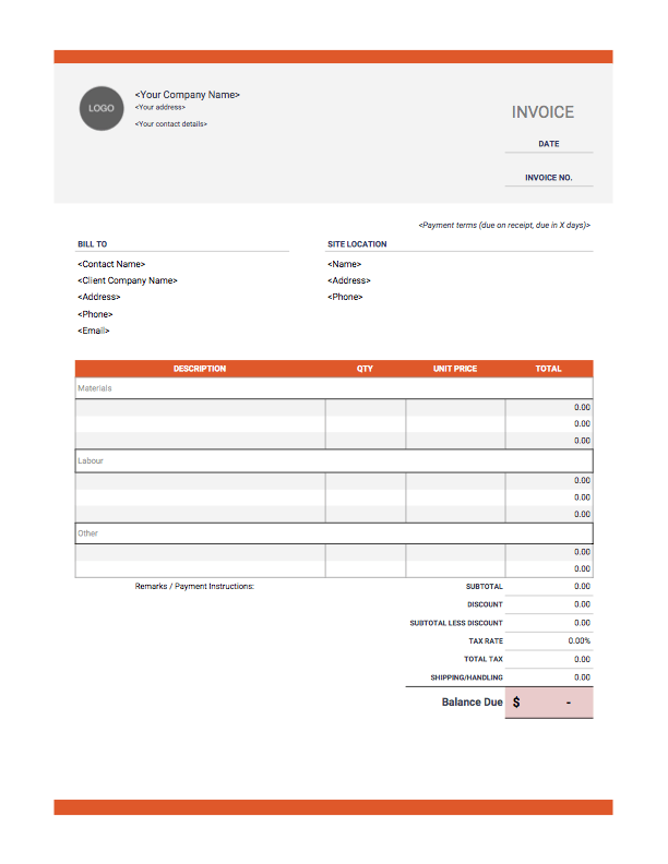 Construction Invoice Template Invoice Simple Invoice Template Word Invoice Template Templates Free Design