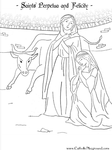 Saints Felicity and Perpetua coloring page. Their saint