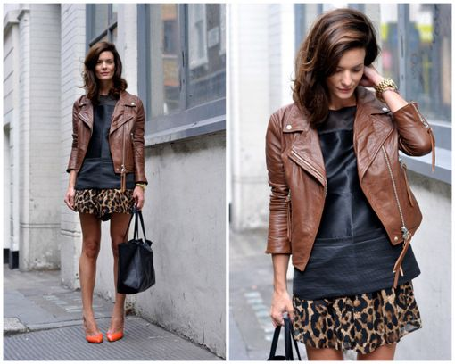 Match a brown leather jacket with leopard. www.stylestaples.com.au