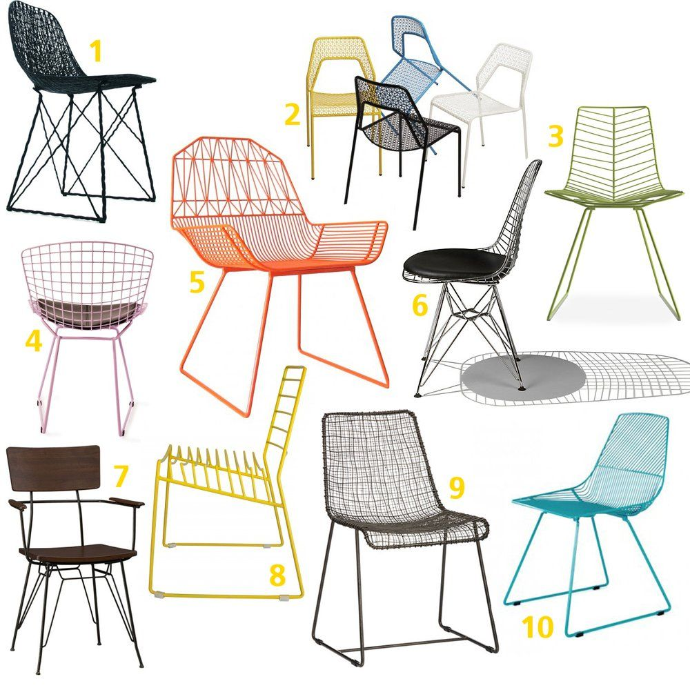 Wire And Metal Mesh Dining Room Chairs
