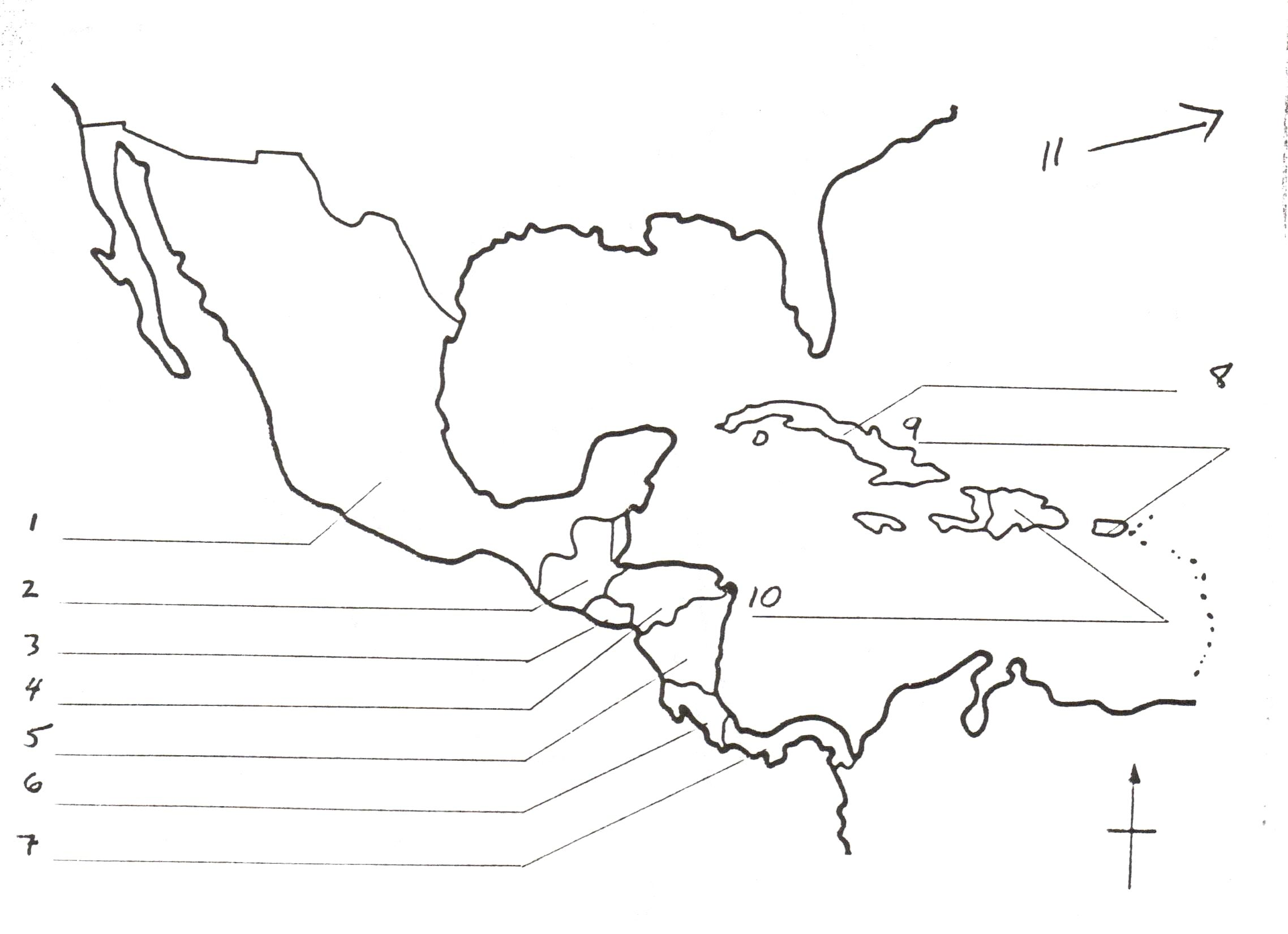 Map Of Central America Blank Worksheet At Outline Free