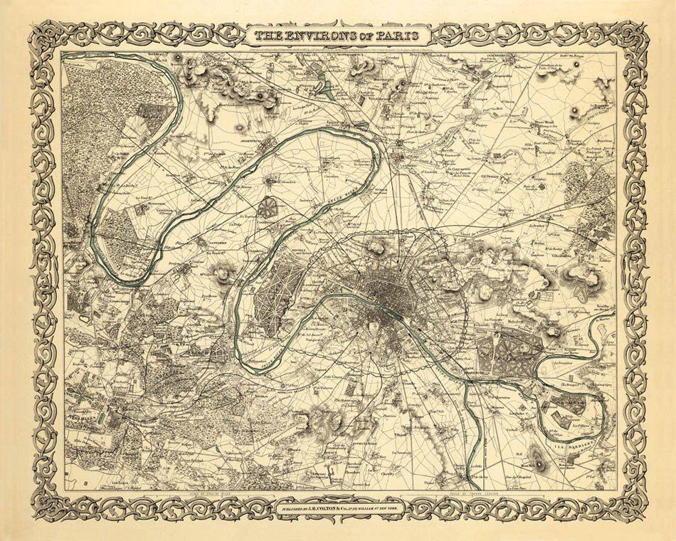 Antique Paris and surroundings map Print - 16 x 20  - new old blueprint art