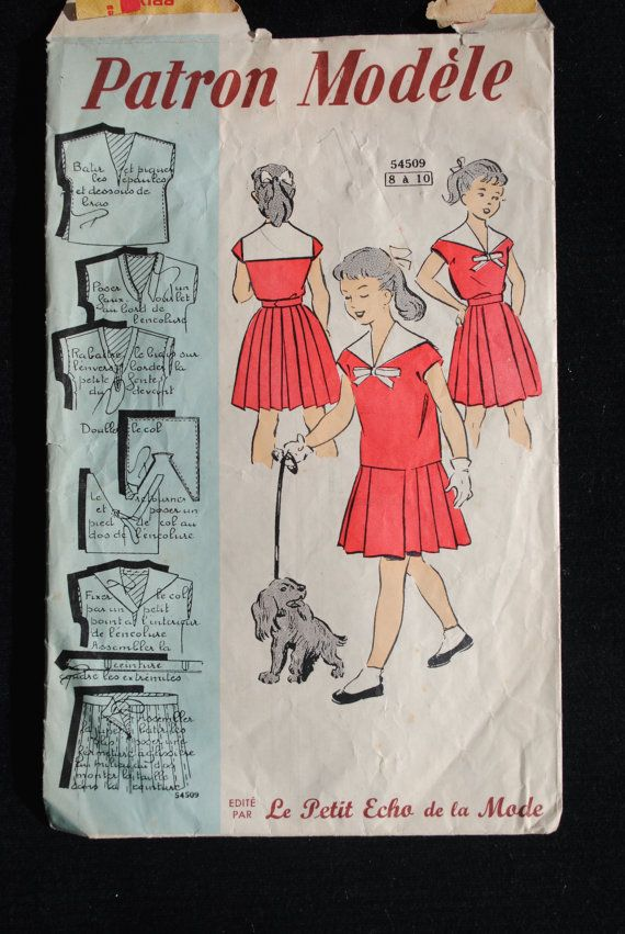 Vintage French Sewing Pattern 1950 S Patron Modele French Sewing