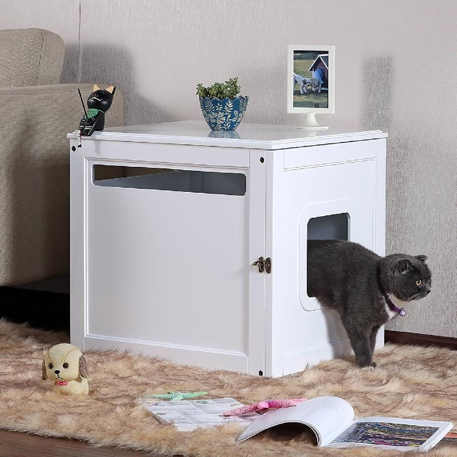 where to keep a litter box in a small apartment, make it double duty ...