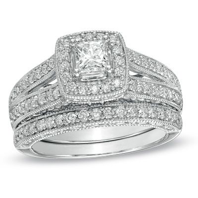 princess cut diamond frame bridal set in white gold zales in loveeeee with the double band on the engagment ring - Wedding Rings Zales