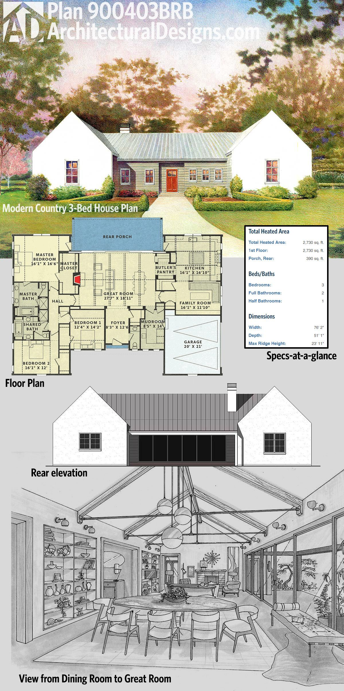 Architectural Designs Modern Country House Plan 900403BRB ...
