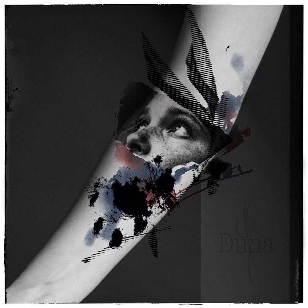 -available tattoo design- • (Placement is just an example to demonstrate the size. It's fits also on legs, back ...) • background picture: @elenabarba_photo  Model: @duna_af  #cattattoo #catlady #wannado #naturelover #dreadhead #abstracttattoo #tattrx #tattoodo #tttism #equilattera #avantgardetattoo #surrealismtattoo #surrealism #colortattoo #watercolortattoo #tattoodesign #tattooedwomen #inkjunkeyz #newtattoo #illustrationtattoo #darkartists #saarlandtattoo #stayhome #saarlouis #saarbrücken