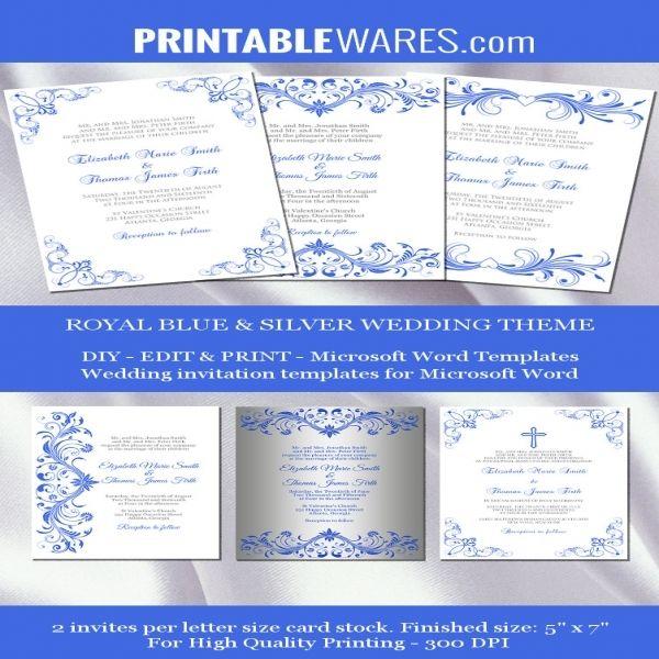 8 royal blue and silver wedding invitations | Wedding ...