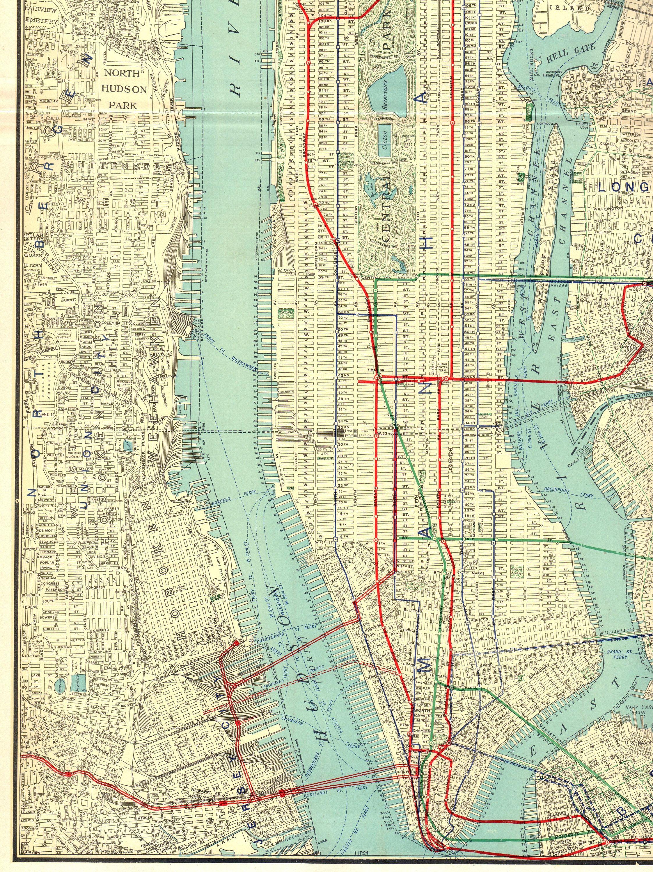 1927 Rare Size Antique Manhattan Map Of Manhattan New York City Map Gallery Wall Art Map Collector Gift For Tr Manhattan Map New York City Map Art Gallery Wall