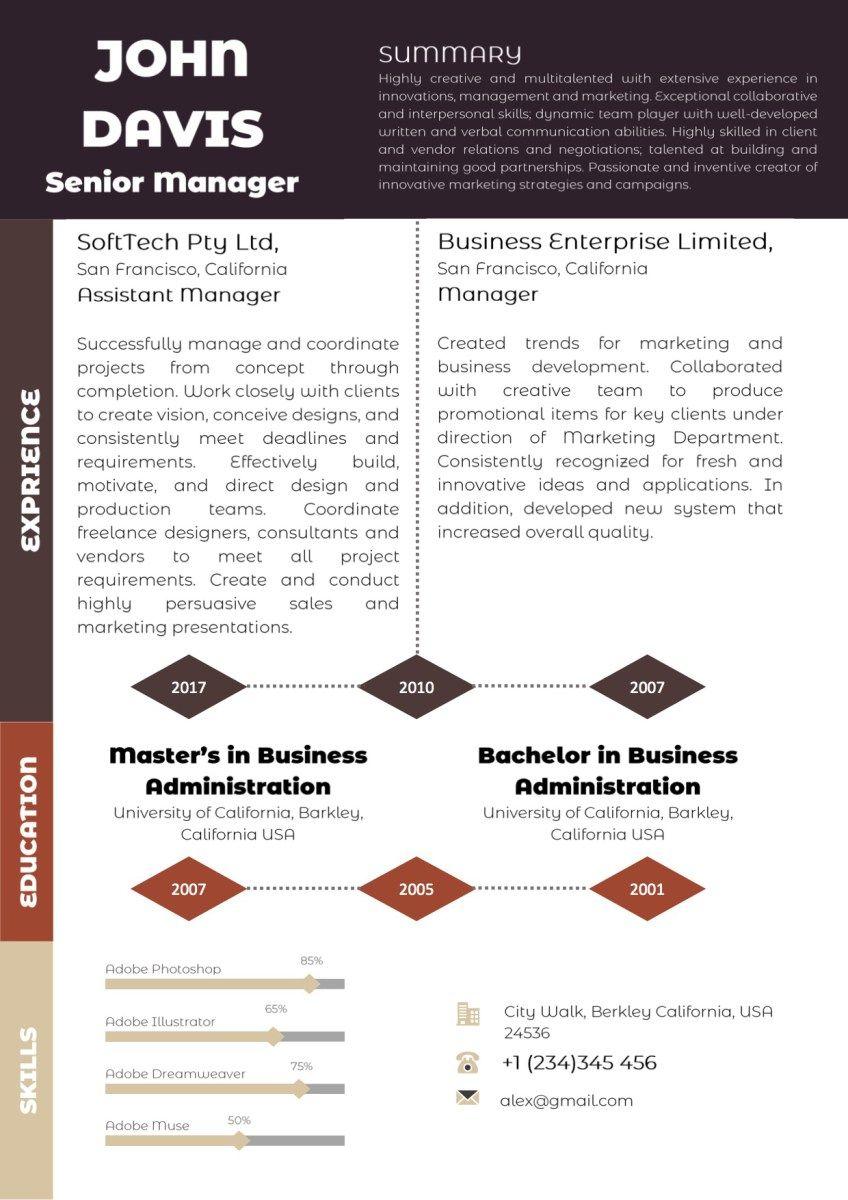 Classic dark brownredgolden colorful resume vista