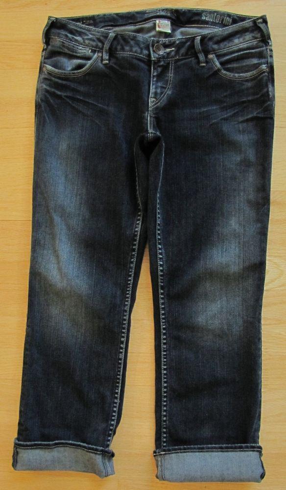 a7b80ae40e Silver Jeans Santorini 30 Cropped Capri Crop Dark Distressed Low Denim  Stretch #SilverJeans #CapriCropped
