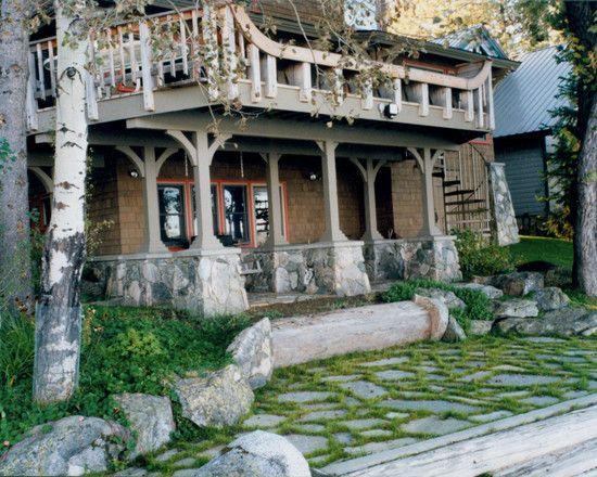 Unique Home Architecture With Natural Materials : Fascinating Porch Design Stone Landscape Craftsman House Exterior