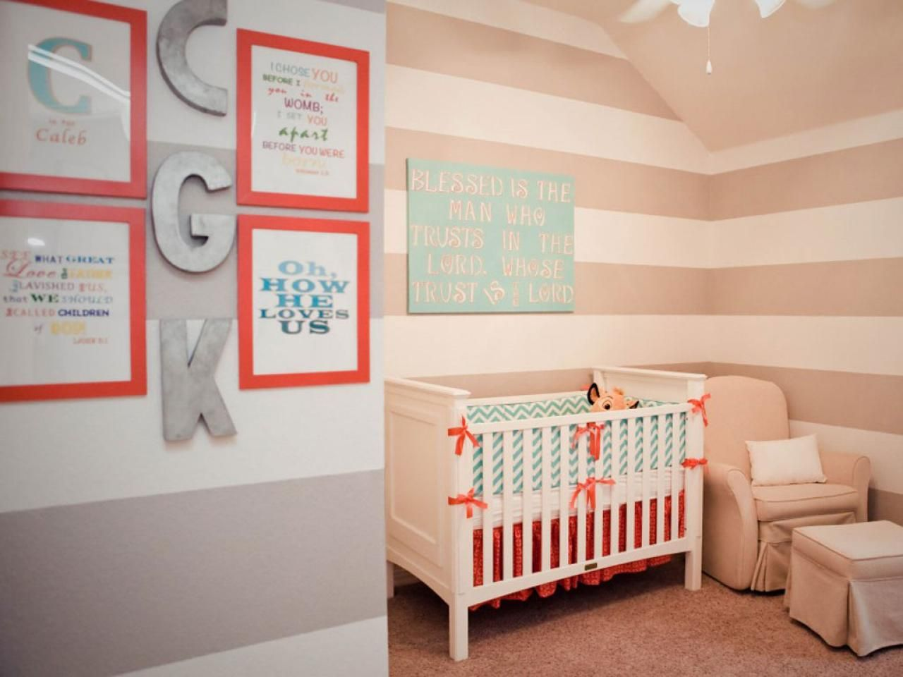 Bright Wall Art And Beige And White Striped Walls Bring A Soothing