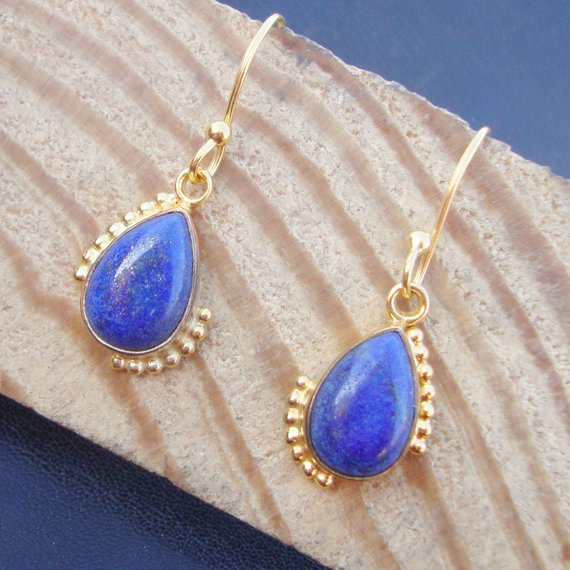 925 Sterling Silver Gold Plated Lapis Lazuli Hand Crafted Beautiful Dangle Drops Earrings For GIFT