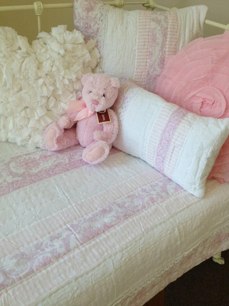 Alice cot quilt from the Lovely Linen Store. This beautiful girls cotton quilted design combined soft florals, stripes, embroidery and lace trims. #LovelyLinen #GirlsNursery #NurseryChabbyChic #LovelyLinenStore