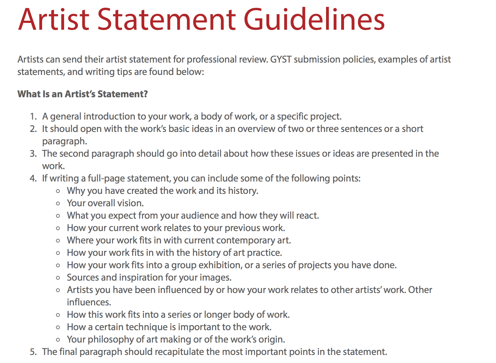 Artist Statement Guidelines Pinned By Mary Scott