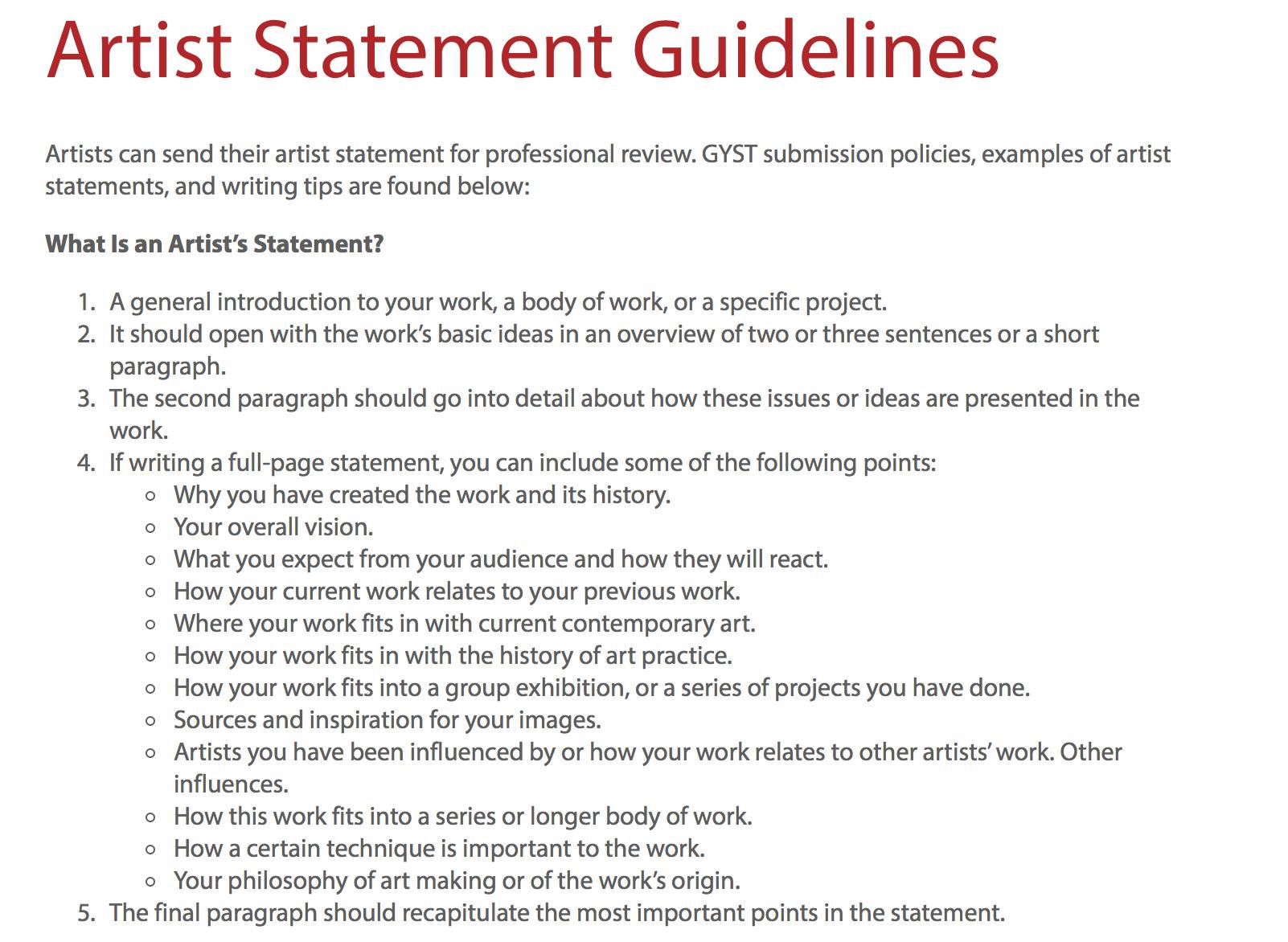 artist statement resume examples