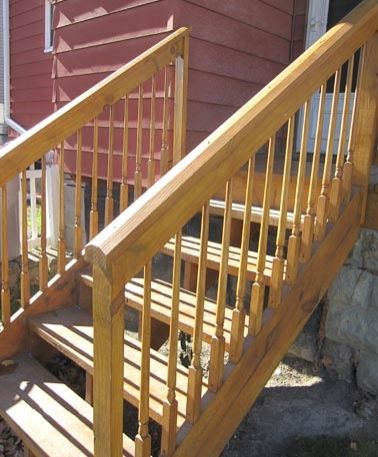 Elegant Pine Access Stairs With Colonial Balusters By Great Lakes Stair U0026 Millwork ( Stair.com. Exterior StairsDeck StairsWood ...