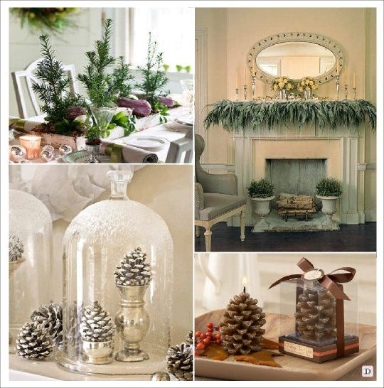 Decoration Table Noel Nature Sapin Cheminee Pomme De Pin Bougie Cloche En  Verre Also Deco Osez