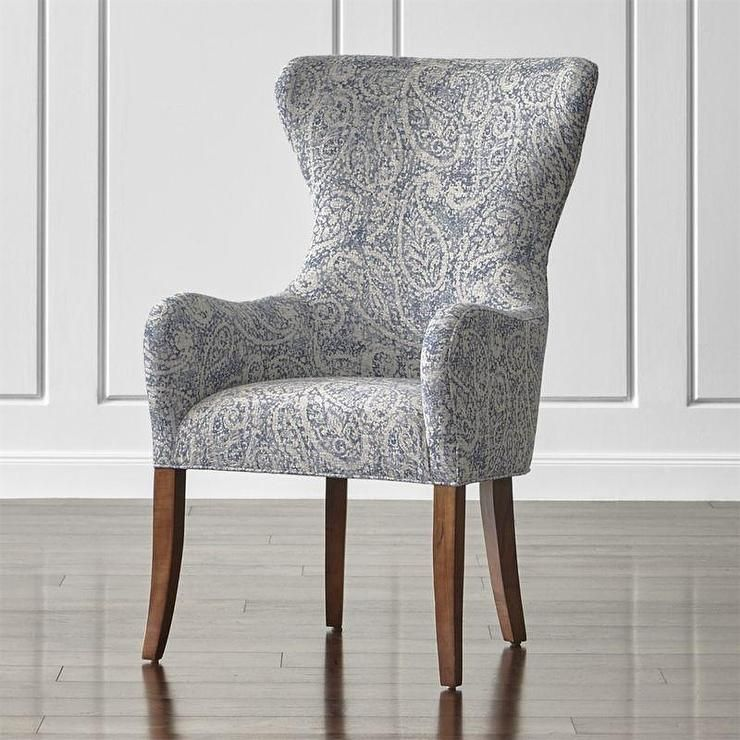 Denim Blue Paisley Wingback Dining Chair House Decor In 2019