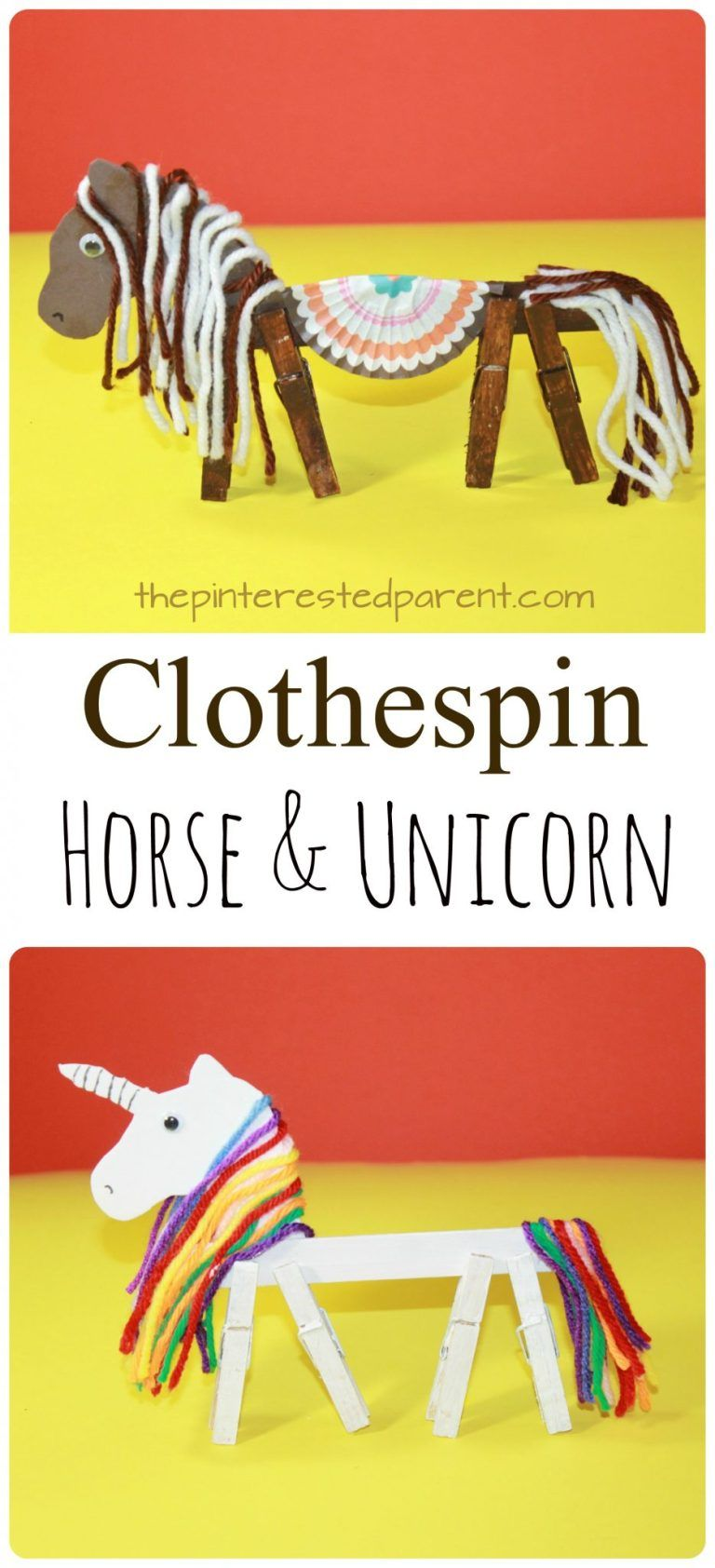Clothespin Horse Unicorn #animalcraftsforkids