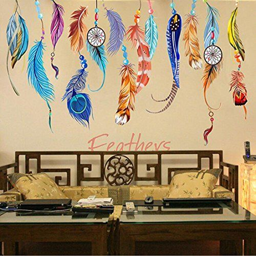 Color Lucky Feather Wall Stickers Removable Kid Wall Decals Sofa ...