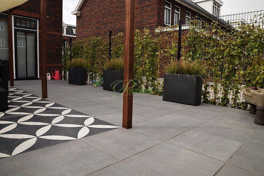 Grijze Tegels Tuin : Vtwonen #design #grey #grijs #tegel #tuin #bloem #schutting #groen