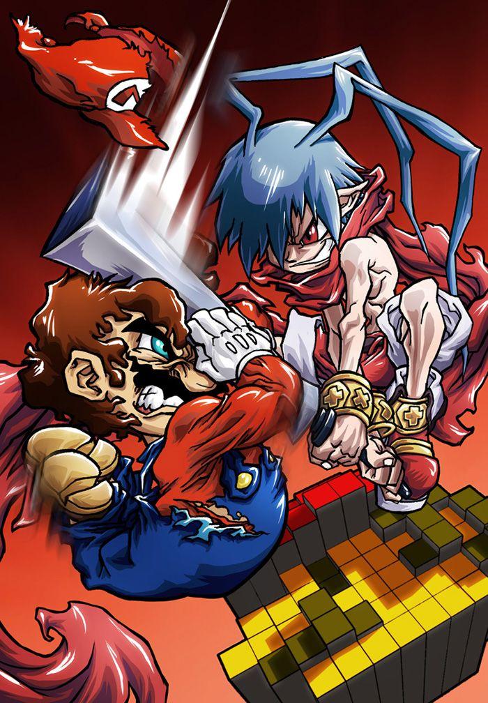 Mario vs Laharl by SebastianvonBuchwalddeviantartcom on